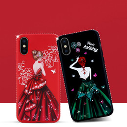 Wholesale Figure Apple - For iPhone X iPhone 8 plus Cover Case Lover Girl Long Dress Figure TPU case with Diamond-edged