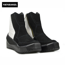 Wholesale korean winter fashion boots - Korean Style Winter New Fashion Brand Top Quality Genuine Leather Mens Boots Male Shoes Zipper Round Toe Footwear Vintage Black