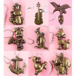stainless steel guitar slide Promo Codes - Acrylic Pendant Stainless Steel Chain Clasp Mix 9 Styles Rabbit Guitar Eagle Skull Kangroo Poodle Anchor Panda Elephant Wholesale (JP009)