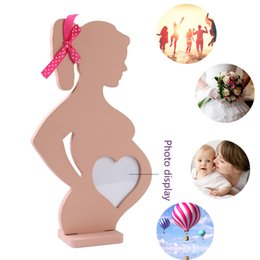 Wholesale photo frame table - Wedding Wooden Photo Frame Pregnant Women Home Decoration Body Props Table Decor