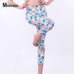 Wholesale Plus Size Floral Leggings - MEIERSES Women Sports Leggings 3 4 Length Light Weight Fitness Clothes Workout Running Plus Size Floral Print Active Wear