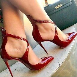 sapatos elegante sapatos senhora Desconto Sexy Hot Mulheres Elegantes 2018 New Pointed Toe Senhora Do Escritório de Salto Alto Partido Stiletto Shoes Mulher Cross-amarrado Burgundy Mulheres De Couro De Pat ...