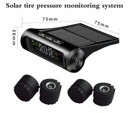Wholesale External Tpms - TPMS Car Tire Pressure Monitoring System Solar Energy Display 4 External Sensors Auto Alarm System Diagnostic Tool