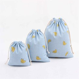 Wholesale Small Cotton Drawstring Pouches - Cotton Blue Banana Pouch For Drawstring Gift Bags Wedding Party Favors Pouches 1Pcs Cartoon Candy Small Storage Bags