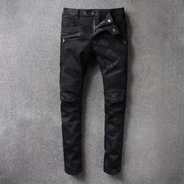 Wholesale cars jeans - European Arcade High Car Jeans Foreign Trade Black Camouflage Micro Bomb Self-cultivation Trousers Male Biker Jeans