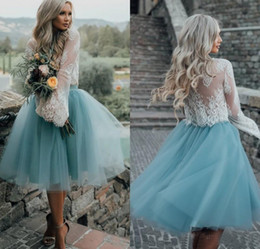 Wholesale Lace Bodice Tulle Skirt Prom Dresses - Knee Length Prom Dresses 2017 Ball Gown Lace Long Sleeves Two Piece Tulle Skirt Illusion Bodice Evening Gown Formal Party Dresses