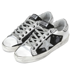 Wholesale italy brand leather shoes - Italy Brand Shoes Genuine Leather Super Star Sneakers In Leather With Leather Star British