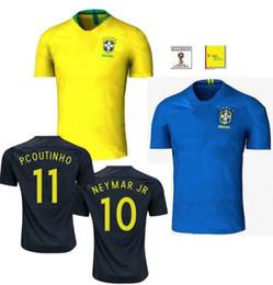 Wholesale Brazilian Blue - Maillot world cup 2018 Brazil football shirt Camisetas COUTONHO Equipe de Brazilian Brasil NEYMAR JR RONALDINHO national Soccer Jerseys