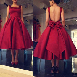 Wholesale Winter Club Wear - 2018 Tea Length A Line Red Bridesmaid Dresses Backless Big Bow Square Satin Guest Dress Custom Made Cocktail Party Dress Formal Gown