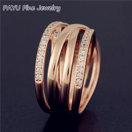 anel de casal de ouro branco de 14k Desconto PAYU Alta Qualidade Sólido 14 k Rose Gold Entwined Anel Para As Mulheres Com Anéis De Casamento De Pedras Preciosas Fine Jewelry