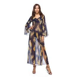 Vestidos acampanados florales de manga larga online-M-2XL mujeres imprimir vestido v-ncek flare manga floral vestido de señora primavera casual suelta larga vacaciones de ocio vestido de marca más el tamaño