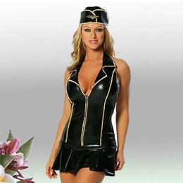 Dessins de robes serrées en Ligne-Nouveau Design Faux Cuir Femmes Noir Sexy Sans Manches Robes De Club Robe Serrée Col En V Dress Bodycon Flight Attendant Cosplay Costume