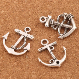Wholesale Earring Necklaces - Anchors Charms Pendants For Jewelry 100pcs lot 3styles Tibetan Silver Craft DIY Fit Earring Bracelets Necklace LM56