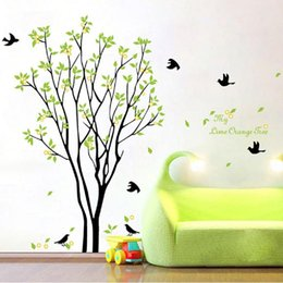 Wholesale Wall Stickers Stairs - Wholesale- Modern Luxury Creative Tree Brid Wallpaper Stairs Bedroom Living Room Ceiling Painting Roofs Lovely WallSticker Wall Stickers