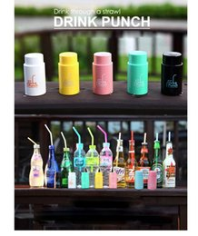 Wholesale stainless steel punch - Creative Drink Bottle Punch Creative 6.5mm Hole Drink Through A Strawer Juice Beverage Lid Straws Bottle Cap Hole Punch