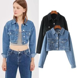 53c3555c3bdd ON SALE Long Sleeve Crop Top Jacket Coat Fashion 90s Rocker Outwear Chic  Autumn Boho Black Blue Jean Jackets Free Shipping