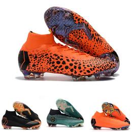 messi botas negras baratos Rebajas 2019 Niños Mercurial Superfly SuperflyX KJ VI 360 Elite Moda Ronaldo CR7 FG Hombre Mujer Chicos Zapatos de fútbol Cristiano Botas de fútbol Botines