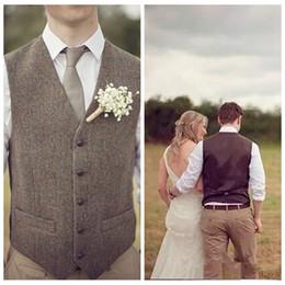 Wholesale Men Slim Fit Suit Tweed - 2018 Custom Formal Brown Tweed Groom Vest Wool British Style Mens Suit Vests Slim Fit Men Vest Custom Business Casual Vest Cheap Sale