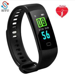 Relógio de pulso de saúde inteligente on-line-Y5 Banda Inteligente Esporte Pulseira Inteligente Pulseira Relógio de Pulso Atividade da Pressão Sanguínea Sono Rastreador de Fitness Saúde Banda Preta