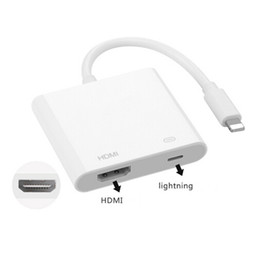 Wholesale Av Packaging - Lightning Digital AV Adapter Apple iphone HDMI Adapter Cable White Package High Quality free DHL shipping