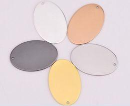 Ovale pendelleuchten online-Großhandel 50 stücke Kupfer Blank Stamping Tags Anhänger Oval 5 farben 20,0mm x 30,0mm schmuckzubehör machen DIY