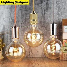 Wholesale Vintage Bubble Light Lamp - Wholesale-G125 led edison bulb spiral dimmable light amber retro saving lamp vintage filament bubble ball bulb E27 led light 4W 110V 220V