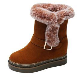 Botas de invierno caramelos online-Invierno Casual de Alta Calidad Diseñador de Lujo Zapatos de Color Caramelo de Las Mujeres de Gamuza Espesar Cálido Botín de Nieve Botas de Nieve Mayor