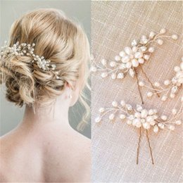 Wholesale Pearl Stick Pins - New Fashion Bridal Hair Accessories Pearl Beaded Crystal Hairpin Flower Hair Pin Stick Wedding Jewelry 2pcs lot