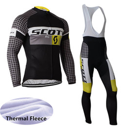 Men SCOTT Bicycle Clothing Long Sleeve Cycling Jersey Suit Winter thermal  fleece Outdoor Riding Bike MTB Clothing Bib Pants Set Y021610 6f8255b7f