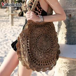 2018 Bohemian Straw Borse per le donne Big Circle Beach Borse Estate Vintage Rattan Bag Handmade Kintted Borse da viaggio KL318 cheap vintage straw tote da tote di paglia d'epoca fornitori