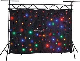 Wholesale Dj Cloths - Wholesale- 3*4M size dj club stage curtain RGW led star cloth for weddings dmx512 stage curtain cloth