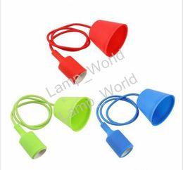 Wholesale Vintage Lead Holder - Colorful Silicone Pendant Lights E27 Holder Vintage Modern Fashion DIY Creative Silicone Rubber Pendant Lamps 100cm Cord Base Light Holder