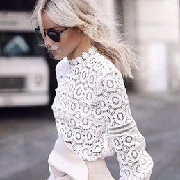 Wholesale White Sheer Button Blouse - 2018 New Design White Lace Women T Shirts Fashion High Neck Sheer Long Sleeves Women Tops Lady Blouse S--XL White Black In Stock