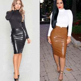 9c1c590e210 faux leather midi skirt Canada - Women Skirts PU Faux Leather High Waist  Back Split Bodycon