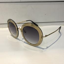 2019 espejo redondo enmarcado Lujo 262 Gafas de sol para mujer Diseño de marca Popular Marco redondo Protección UV Lente Revestimiento Espejo Lente Marco completo de calidad superior con el caso espejo redondo enmarcado baratos