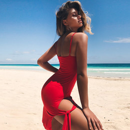 cotton summer dress xl Australia - Sexy Casual Dresses Split bra 2018 Adjustable Summer Beach Dresses Womens Cotton Suspenders Maxi Long Night Club Dresses