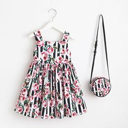 Wholesale bean bag blue - Girls Flowers And Beans Dresses Kids Summer Dress Children Casual Sleeveless Dress With Bag for 90-130cm