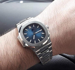 Wholesale wrist watch transparent - Mens Watch Nautilus PP Sky moon Automatic Mechanical Stainless Steel Transparent Back Blue Dial Men Watches Male Wrist watch