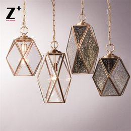 Wholesale Brass Spots - Vintage Brass and Glass Pendant light Spot Glass Clear Glass Dining Room Living Room Lighting Suspension Luminaire