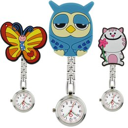 Wholesale cool pocket watches - Wholesale fashion lovely cool cute animal shape nurse FOB pocket watches unisex ladies women doctor medical hang clip watches