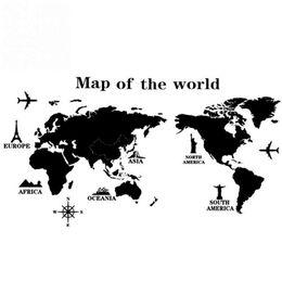 Decalque mural do mapa mundial on-line-Removível PVC Vinyl Art Room Mapa do Mundo Adesivo de Parede Decalque Mural Home Decor DIY