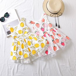 Wholesale two color vest - Baby Girls Vest Dress Bow Ribbon Bandage Elastic Lemon Orange Strawberry Printed Two Layers Cake Sleeveless Skirts Summer Princess Outfits