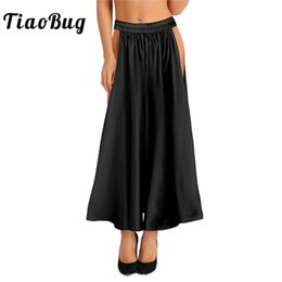 trajes de dos caras Rebajas TiaoBug Moda Mujeres Soft Satin Belly Dance Skirt Lady Adult Stage Stage Dance Traje Femenino Tribal Two Side Slit Skirt