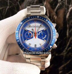 Wholesale miyota quartz - Luxury Brand Date 70330B Heritage Chronograph White Blue Dial Miyota Quartz Mens Watch Blue Ceramics Bezel Stainless Steel Band New Watches