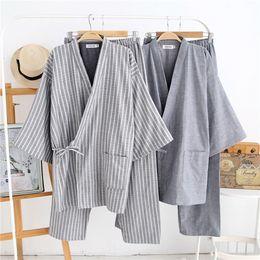 ae5ded0ff5 Men Yukata Kimono Pajamas Set Cotton Gauze Top Shirt Long Pants Tracksuit  Japanese-style Autumn Winter