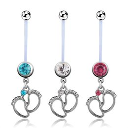 Wholesale gold plastic bells - Silver Belly Button Rings Long Plastics Bar Dangle Double Foot Navel Rings For Women Body Piercing Jewelry