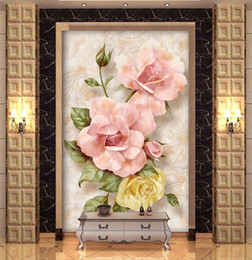 Wholesale Kitchen Rose - Europe type 3 d mural porch corridor corridor stereo embossed wallpaper background wallpaper rose setting wall reliefs