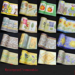 пластиковые мозаичные плитки Скидка 10m Waist Line Cartoon Wall Sticker for Bathroom Kitchen Tiles Waterproof Self Adhesive PVC Wallpaper Border Wood Stickers