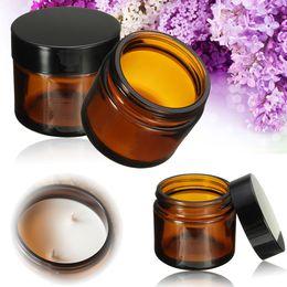 Wholesale Glass Amber Jars - 5ml 10ml 15ml 20ml 30ml 50ml Round Amber Glass Jar Straight Sided Cream Jars w  Black Plastic Lid Cap & Inner Liner Empty Cosmetic Container