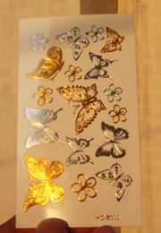 Wholesale Sexy Small Tattoos - Wholesale- Butterfly Small Flower Gold Tattoo Women Makeup Golden Sexy Temporary Tattoo Stickers
